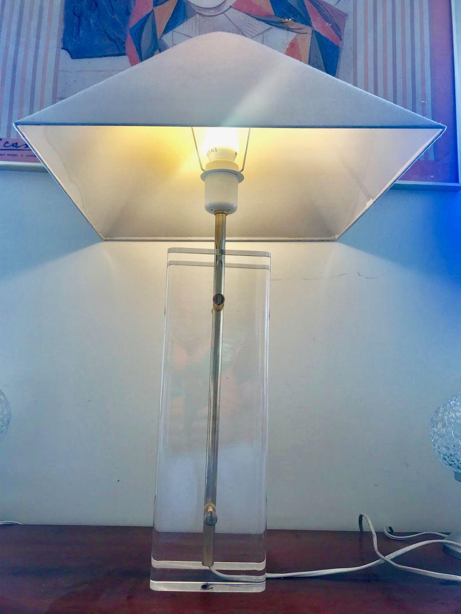 Tischlampe aus geätztem Milchglas, Plexiglas & Messing von Fredrick Ra...
