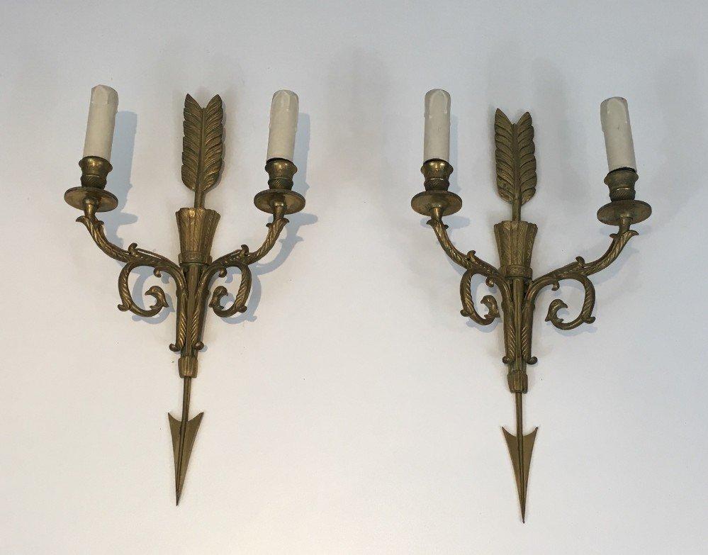 Hohe Bronze Wandleuchten mit Köchern, Pfeilen und Adlerköpfen, 1920er,...