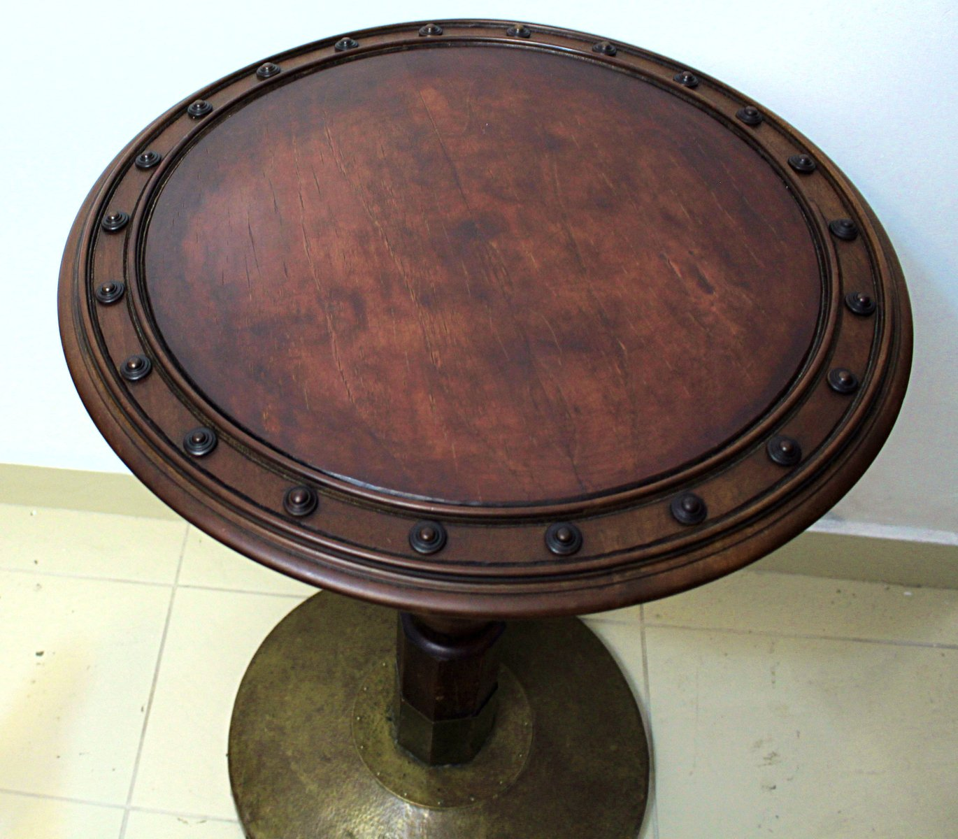 Antique Oak Side Table With Hammered Brass Foot From J Kohn