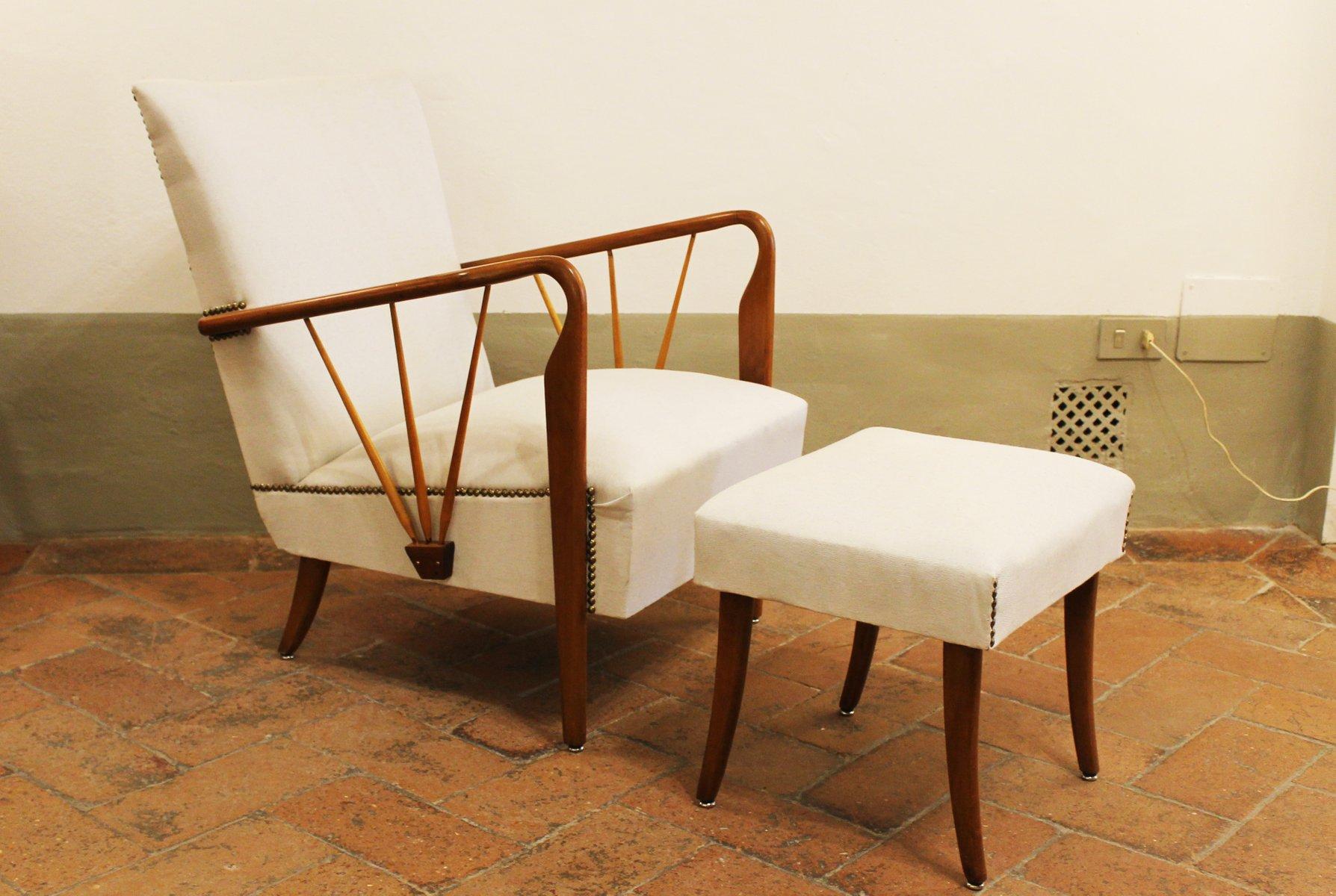Italienischer Sessel & Fußhocker von Paolo Buffa, 1940er