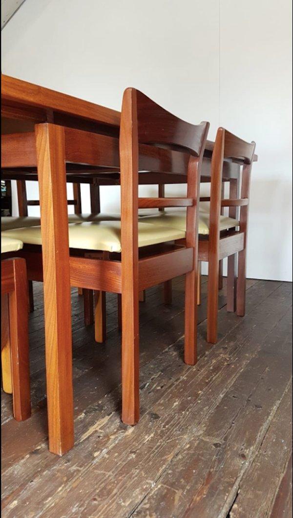 ausziehbarer mid century teak esstisch 6 st hle bei pamono kaufen. Black Bedroom Furniture Sets. Home Design Ideas