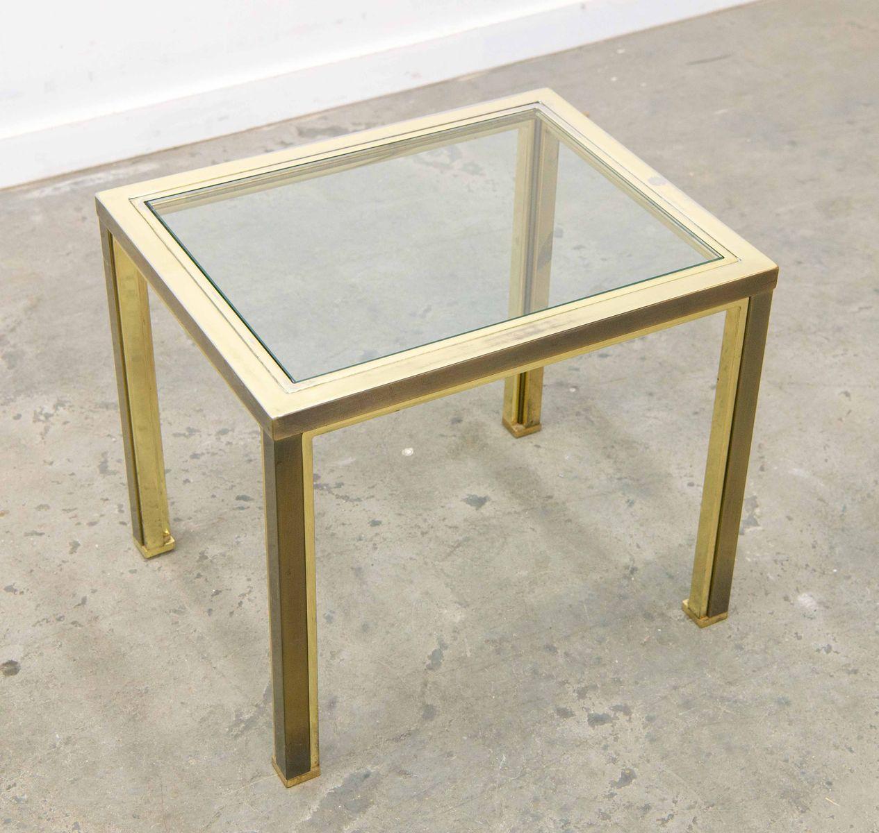 beistelltisch mit glas und 23 karat vergoldung von belgo chrom 1980er bei pamono kaufen. Black Bedroom Furniture Sets. Home Design Ideas