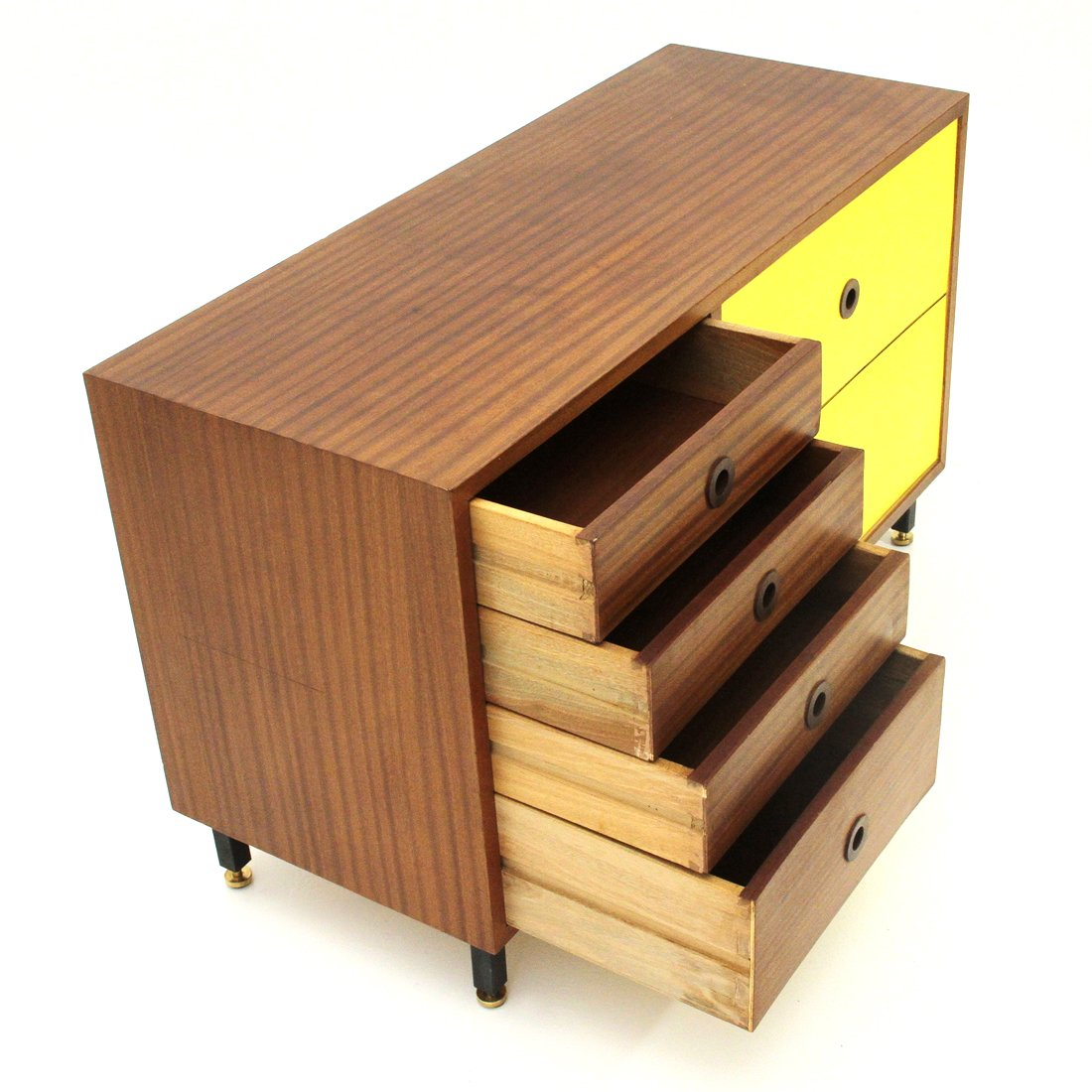 Mid Century Italian Teak and Yellow Formica Sideboard, 1960s for sale at Pamono