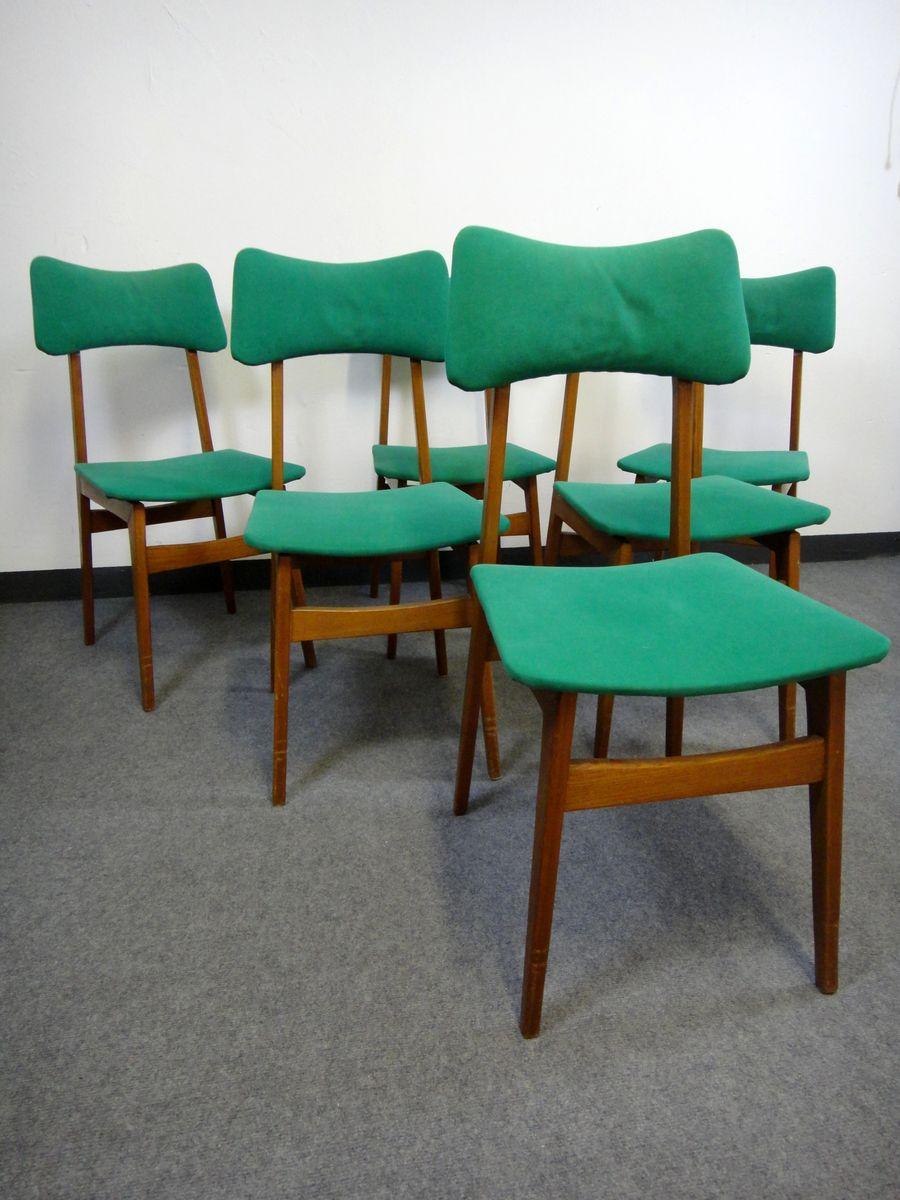 Chaises De Salle A Manger En Velours Vert Scandinavie 1950s Set