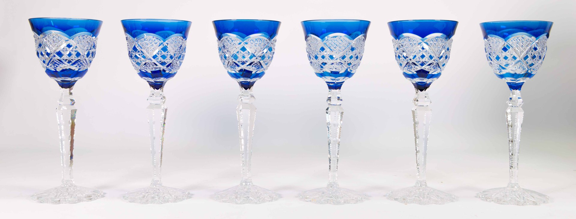 Cut Crystal Wine Glasses From Val Saint Lambert 1960s Set Of 6 For