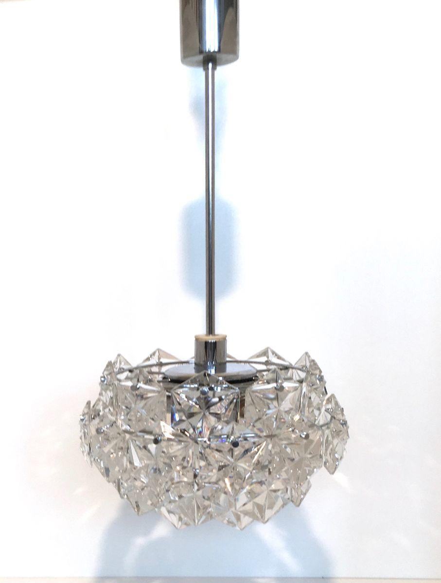 Vierstufiger Vintagel Kristallglas Kronleuchter von Kinkeldey, 1960er