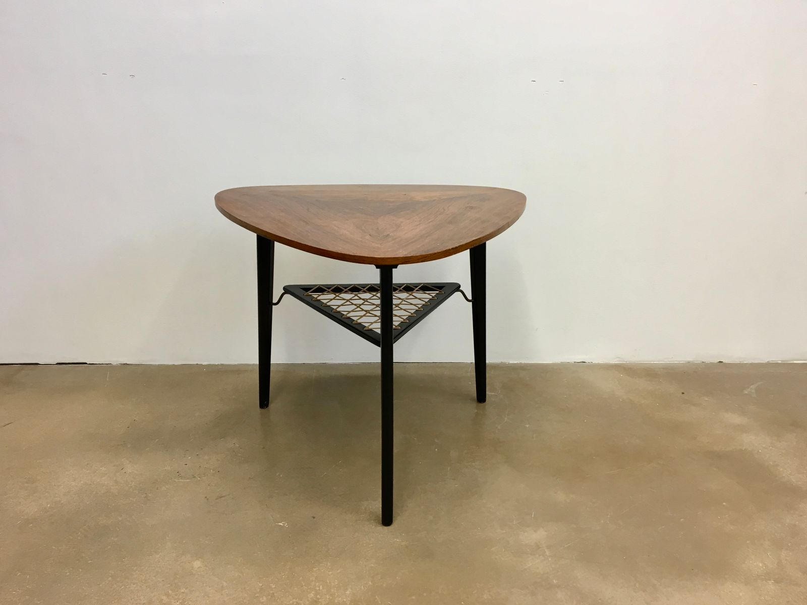 MidCentury Danish Triangular Rosewood Coffee Table With Rack For - Mid century triangle coffee table