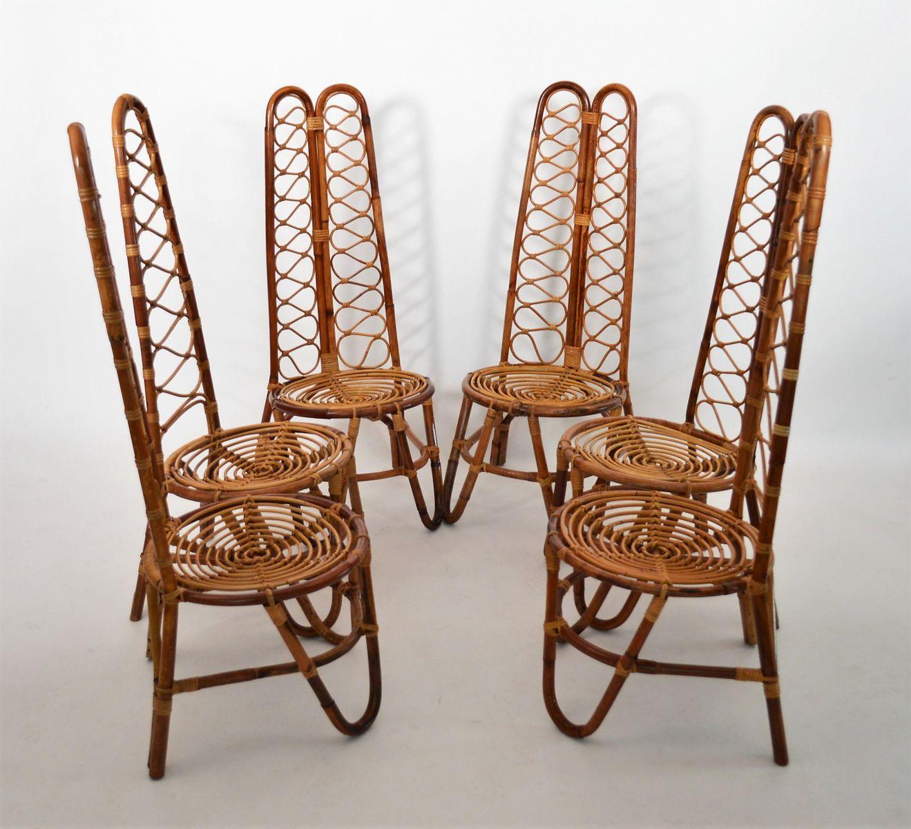rattan st hle 1970er 6er set bei pamono kaufen. Black Bedroom Furniture Sets. Home Design Ideas