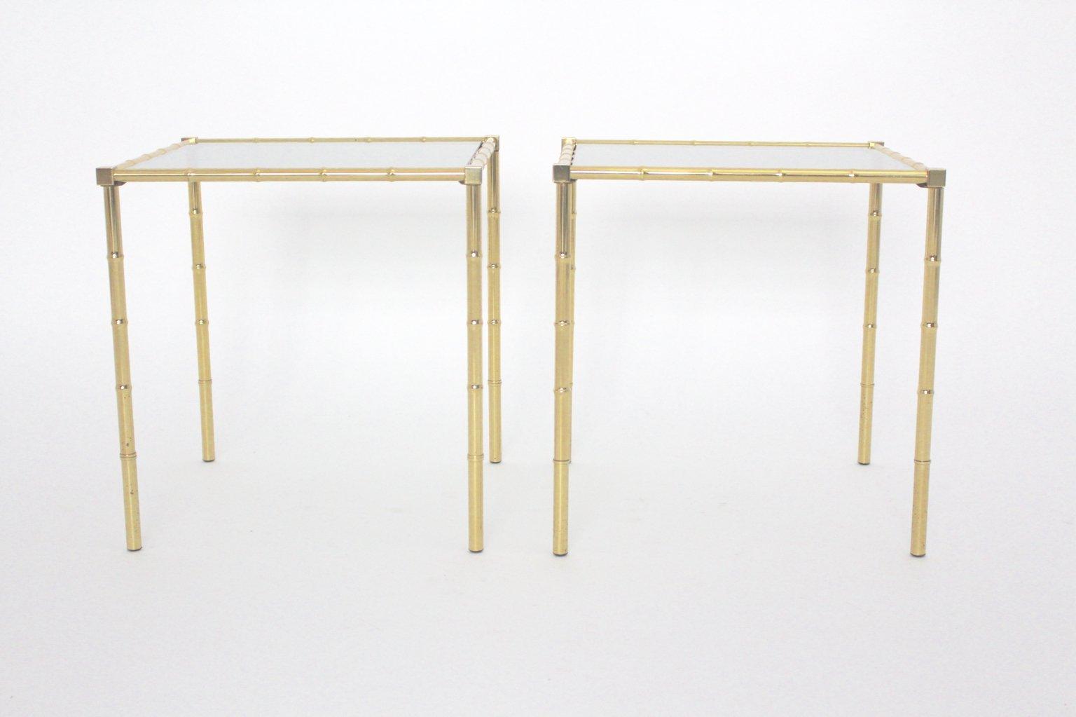 Französische Messing Beistelltische in Bambus Optik, 1960er, 2er Set