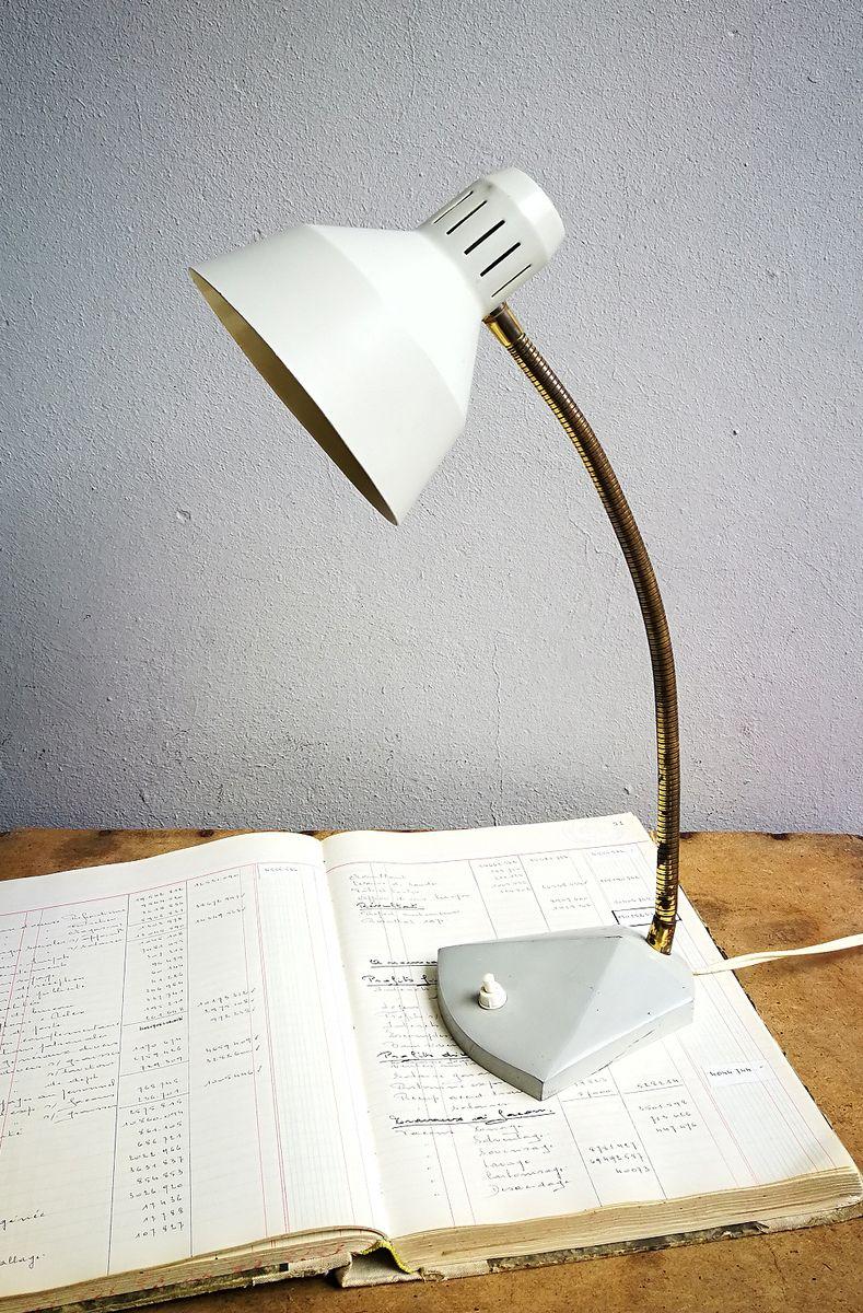 Schreibtischlampe in Hellgrau, 1950er