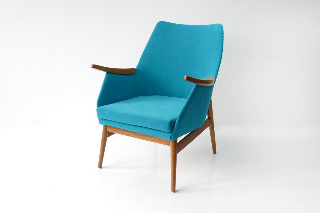 Beau Vintage Hungarian Armchair In Turquoise Fabric, 1960s