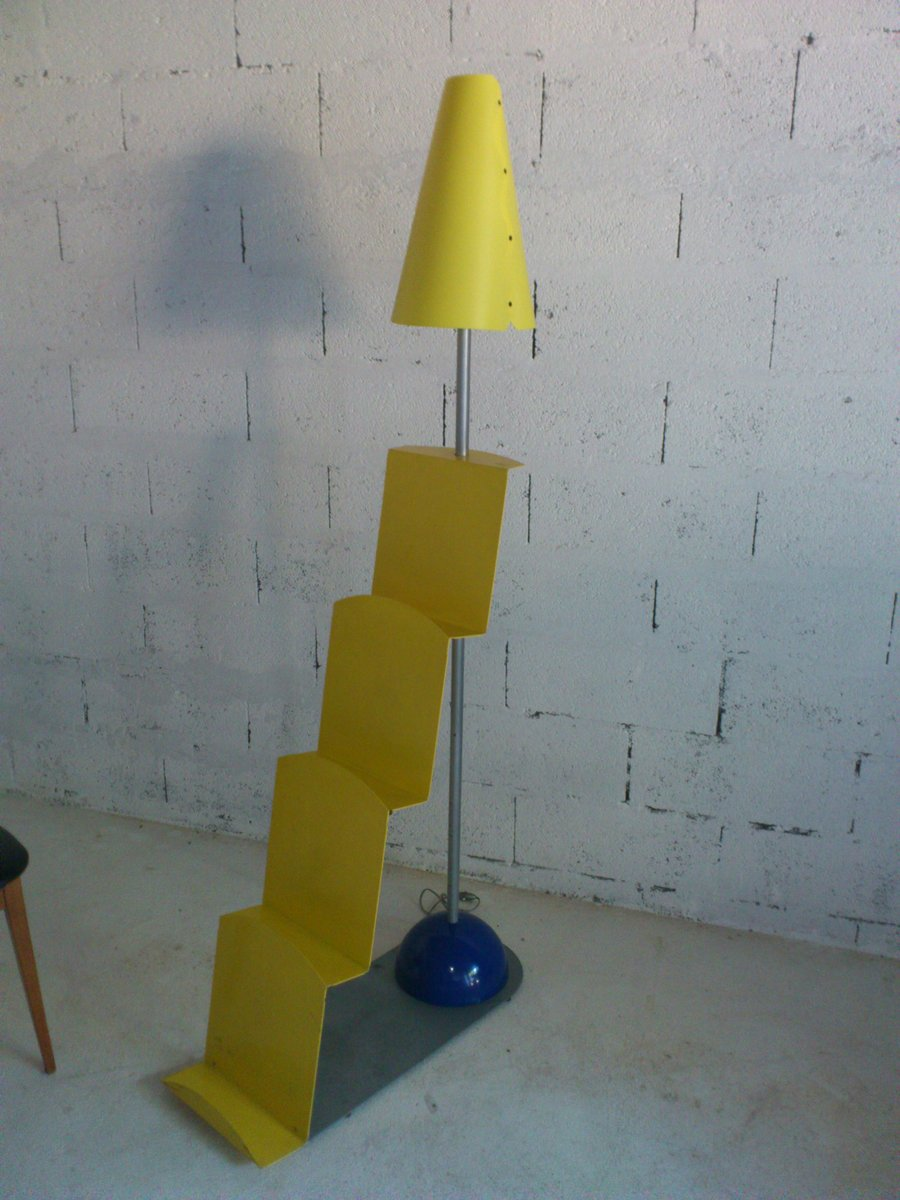 Stehlampe in Gelb & Blau, 1980er