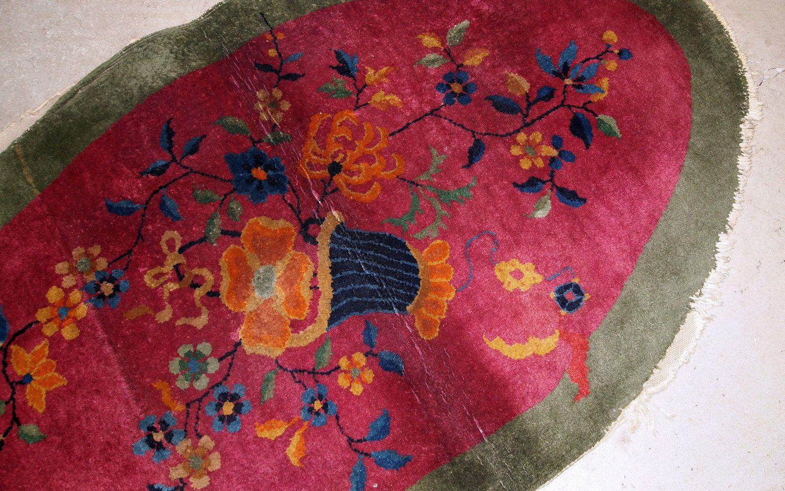 chinesischer handgearbeiteter art deco teppich 1920er bei pamono kaufen. Black Bedroom Furniture Sets. Home Design Ideas