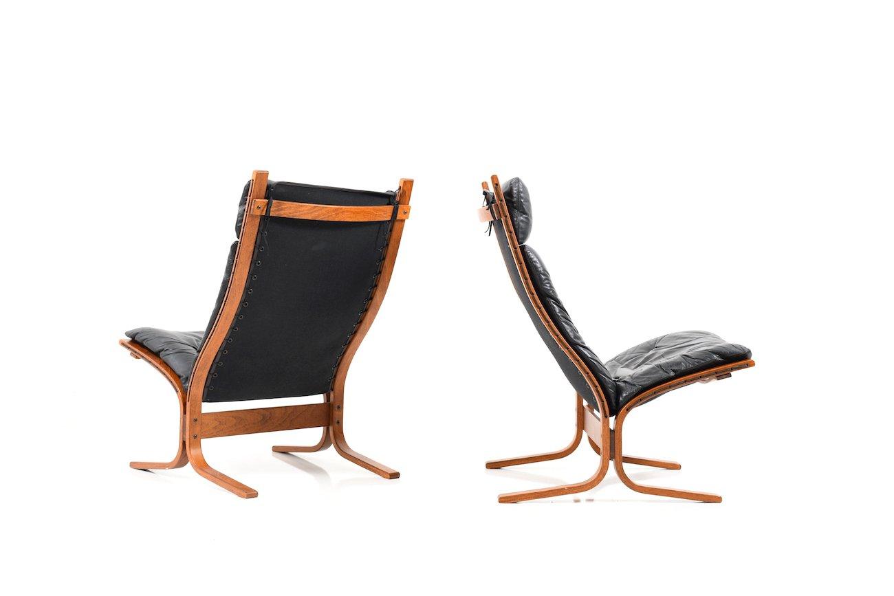 Sessel mit hoher Lehne von Ingmar Relling für Westnofa, 1970er, 2er Se...