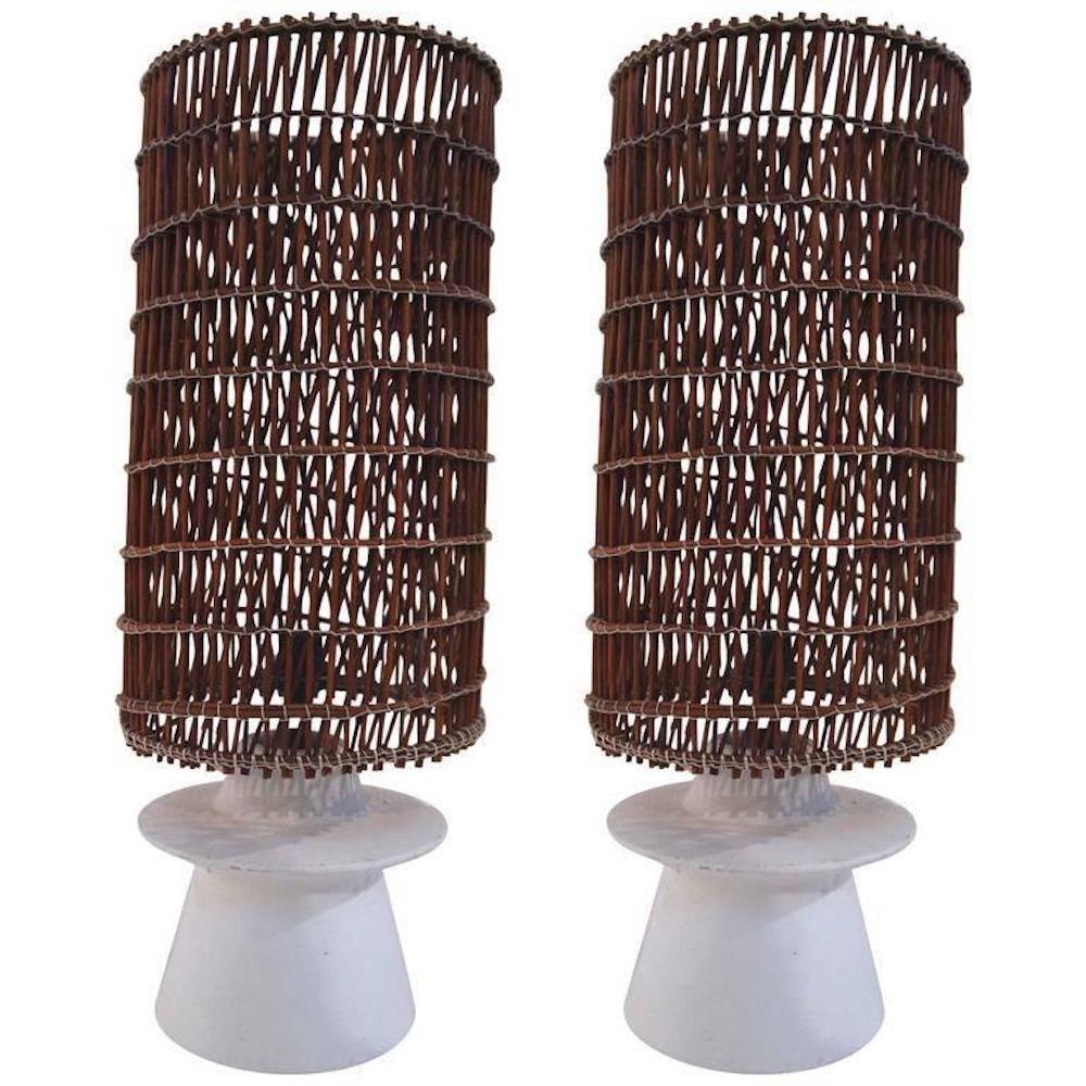 Tischlampen aus Gips & Korbgeflecht, 1950er, 2er Set