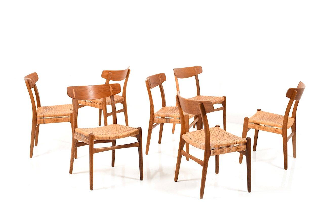 chaises de salle manger mod le ch23 par hans j wegner pour carl hansen et s n 1950s set de. Black Bedroom Furniture Sets. Home Design Ideas