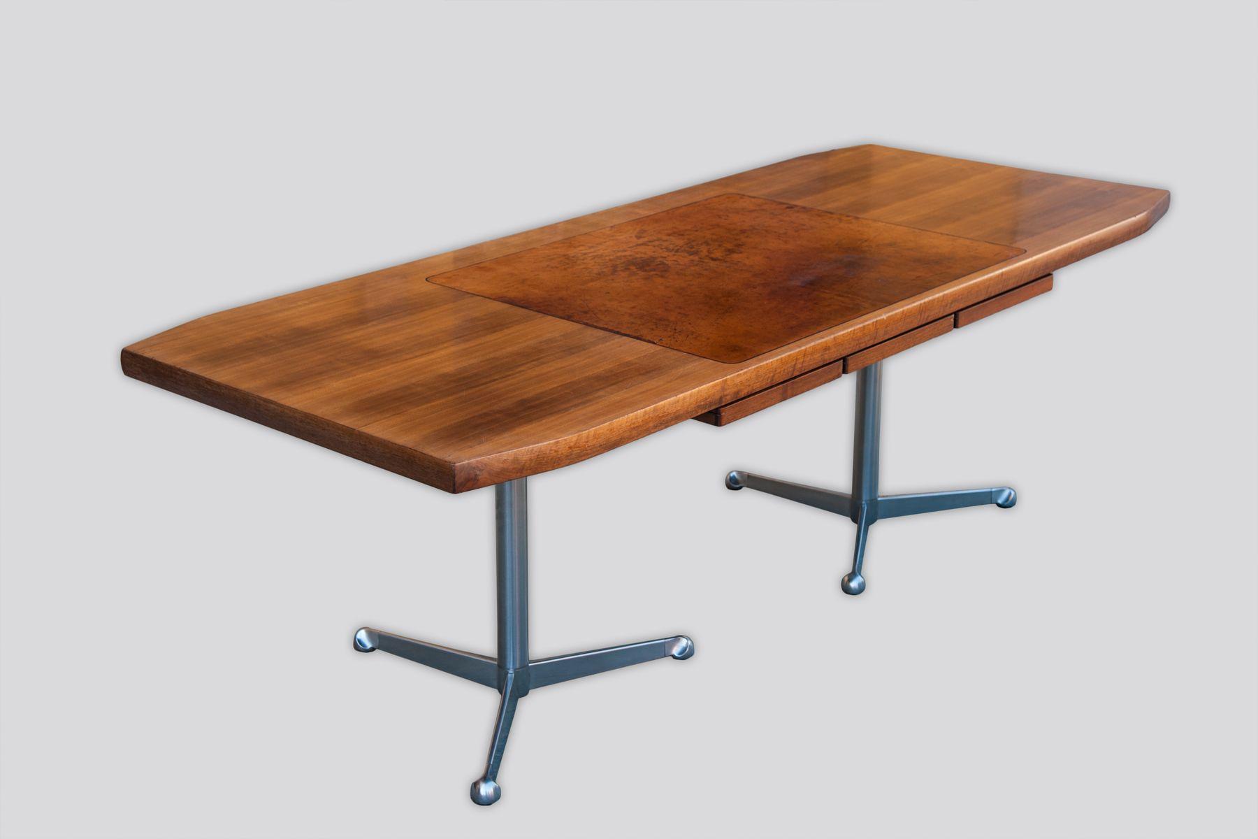 schreibtisch aus verchromtem metall leder nussholz von osvaldo borsani f r tecno 1960er bei. Black Bedroom Furniture Sets. Home Design Ideas