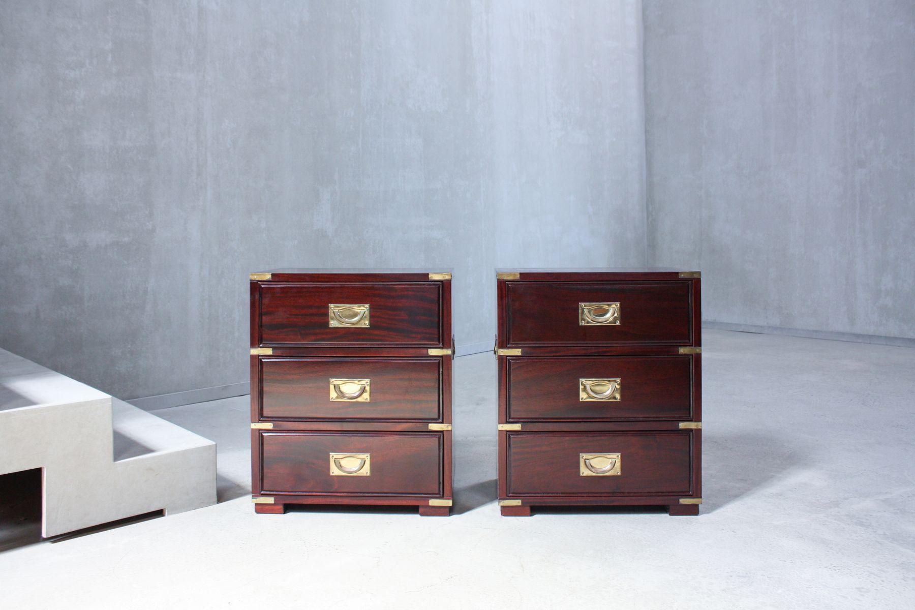 Vintage Campaign Kommoden mit drei Schubladen, 2er Set