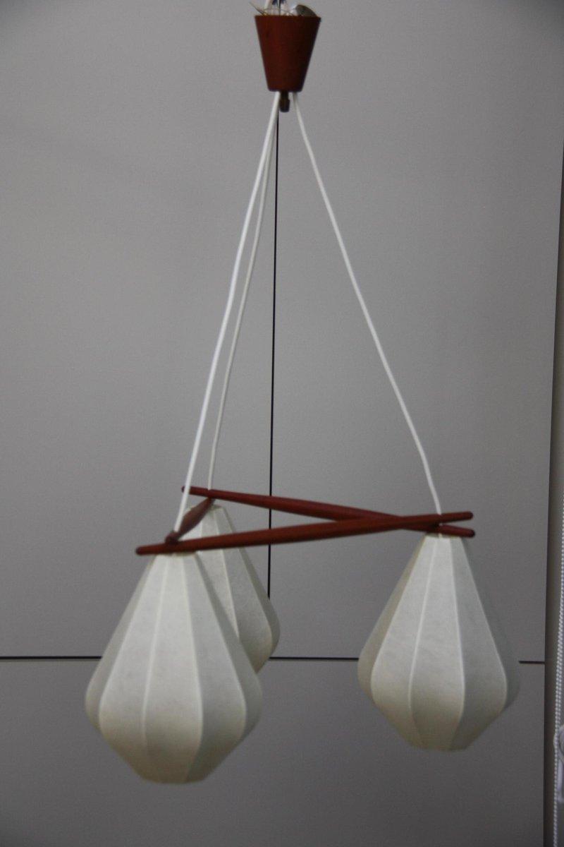 Dänische Vintage Skinlamp Deckenlampe mit 3 Schirmen, 1960er