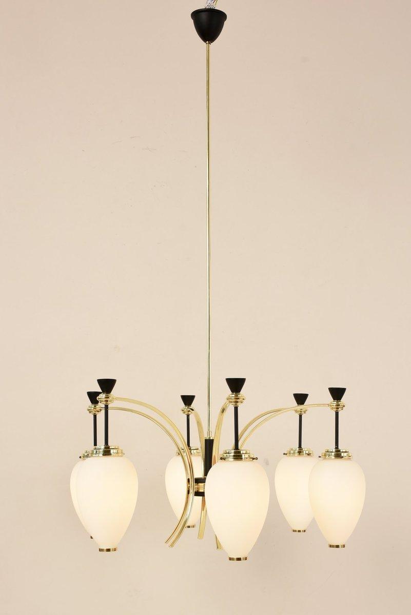 6-Leuchten Kronleuchter von Bruno Gatta für Stilnovo, 1950er