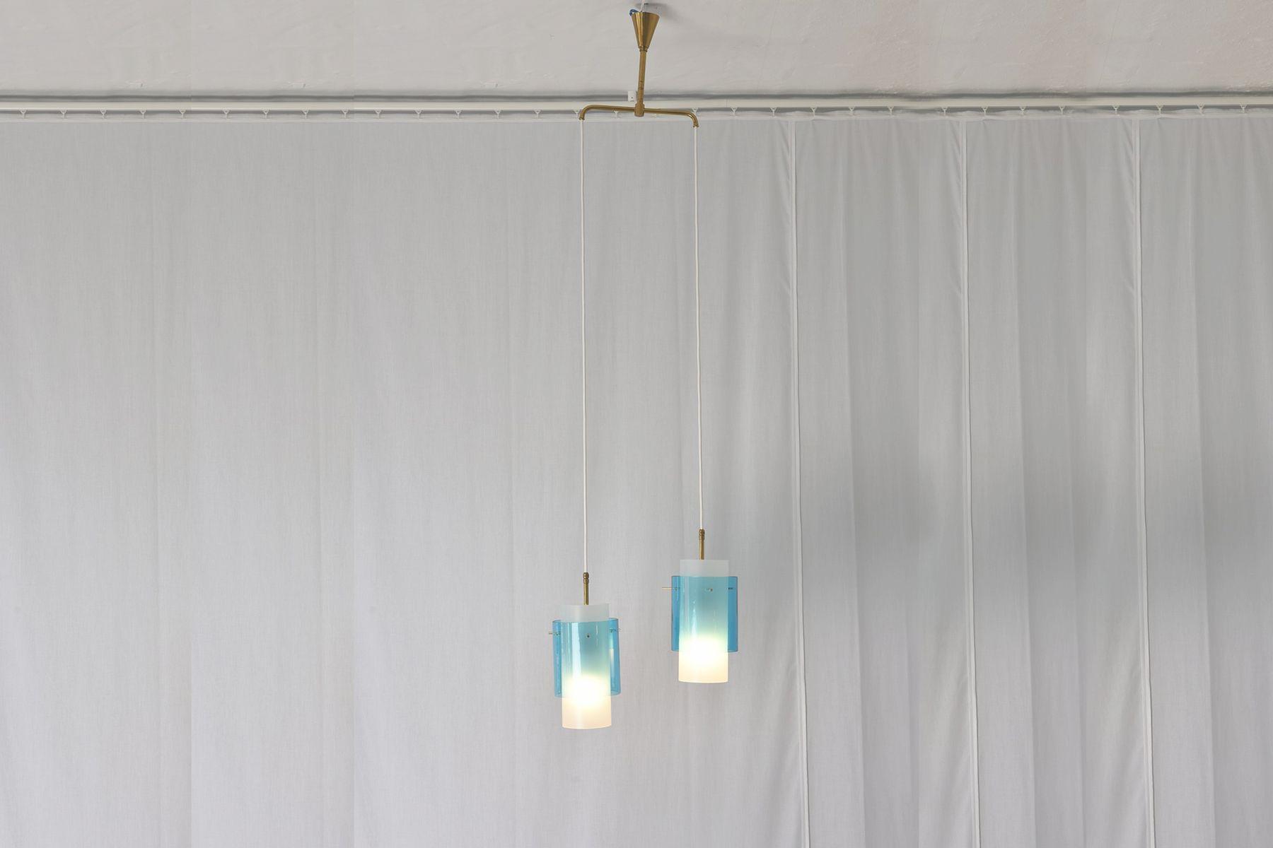 Italienische Murano Glas 2-Leuchten Hängelampe, 1960er