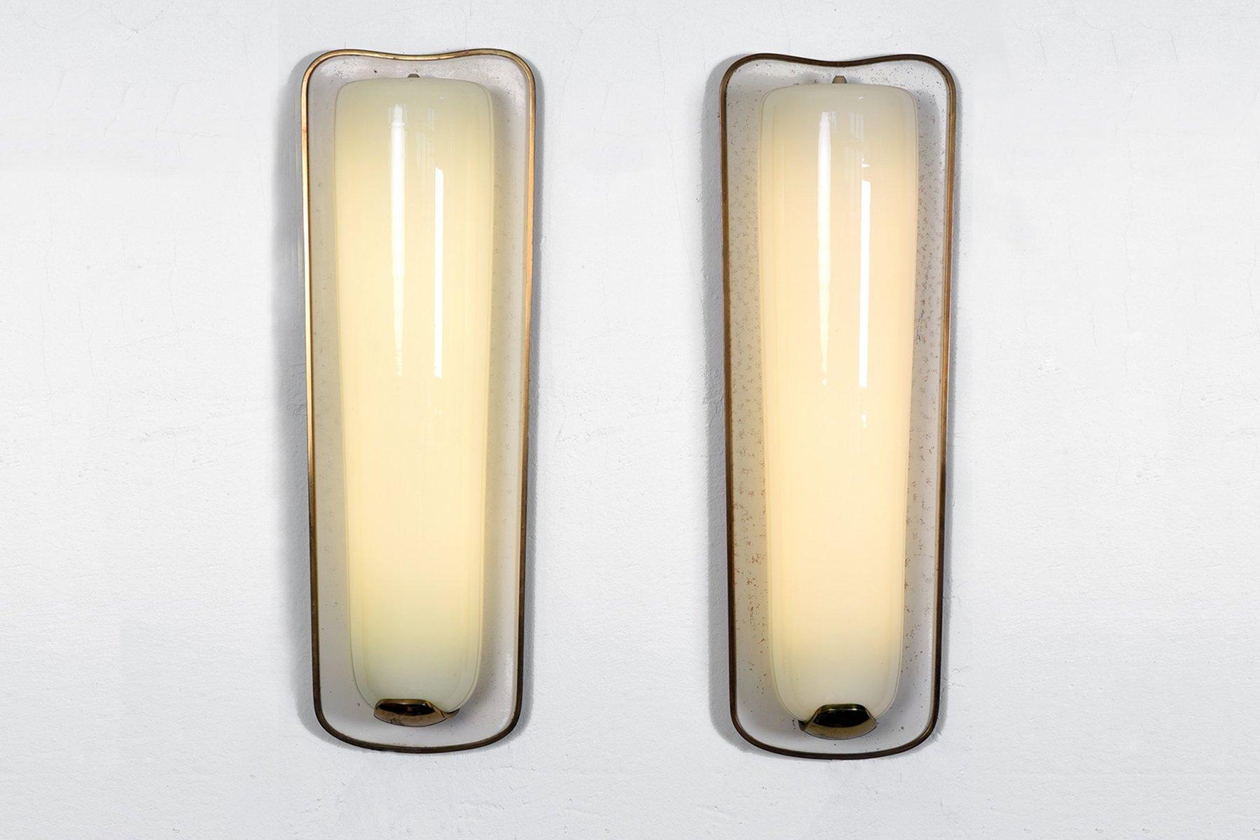 Deutsche große Wandlampen, 1950er, 2er Set