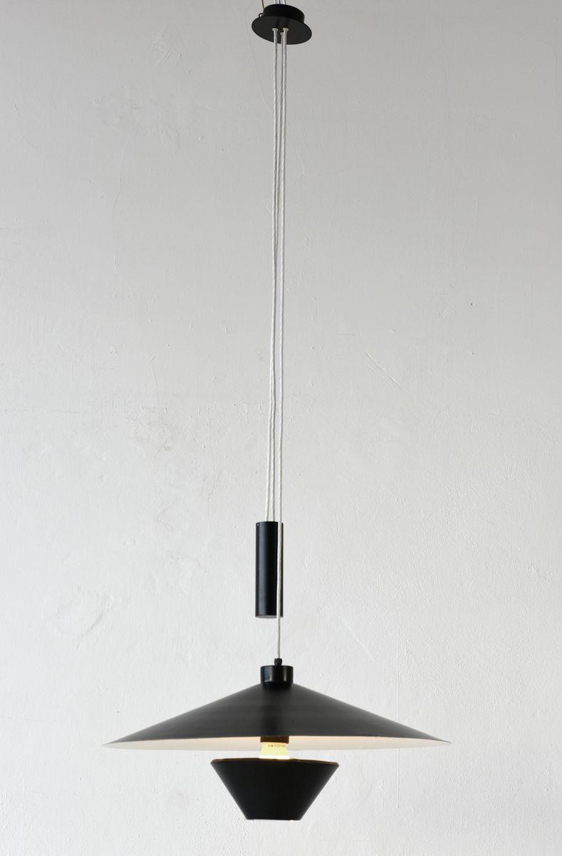 Hängeleuchte aus schwarzem & weißem Metall von Baltensweiler, 1960er