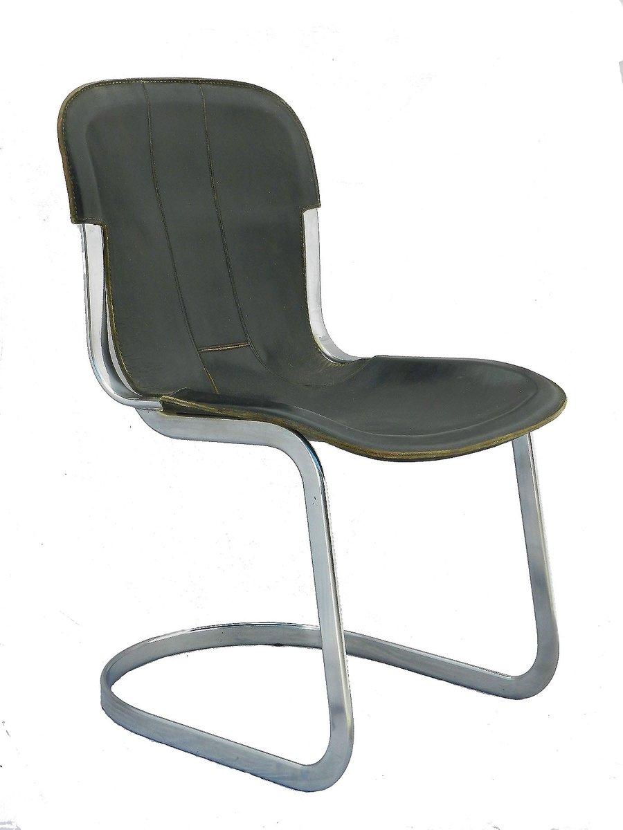schwarze leder esszimmerst hle von willy rizzo f r cidue 1970er 6er set bei pamono kaufen. Black Bedroom Furniture Sets. Home Design Ideas