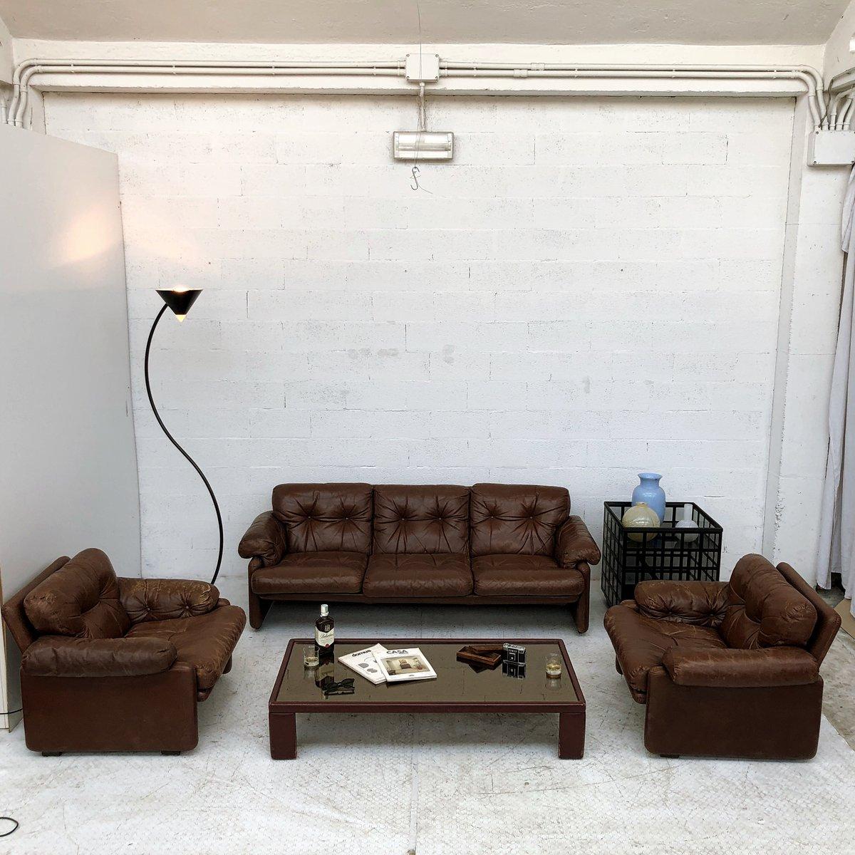 Braunes Leder Coronado Wohnzimmer Set Von Afra U0026 Tobia Scarpa Für Cu0026B  Italia, 1969. Weihnachts Sale. Braunes Leder Coronado Wohnzimmer Set ...