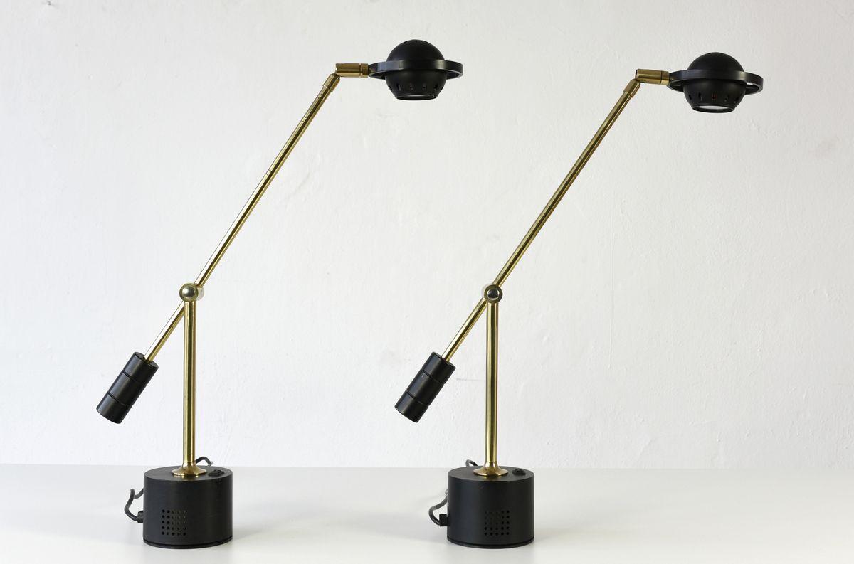 Messing Tischlampen, 1980er, 2er Set