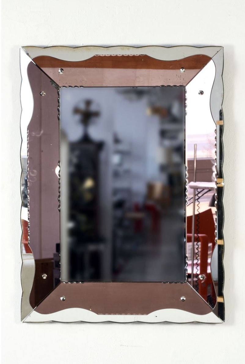 rechteckiger italienischer art deco spiegel 1930er bei. Black Bedroom Furniture Sets. Home Design Ideas