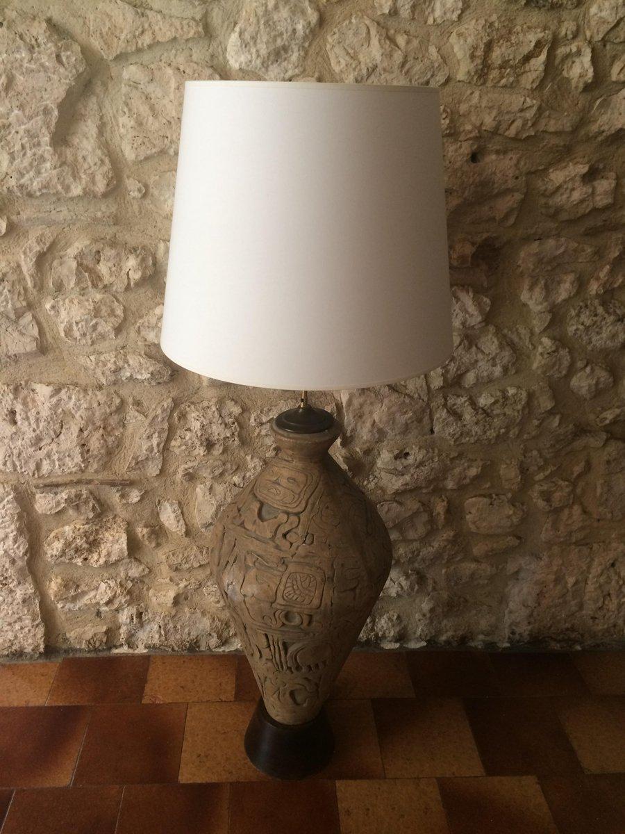 Vintage Steingut Lampe in Amphora Optik