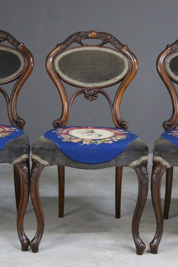 Antique Walnut Dining Chairs from C. Culyer of Holland & Sons, Set of 6 - Antique Walnut Dining Chairs From C. Culyer Of Holland & Sons, Set