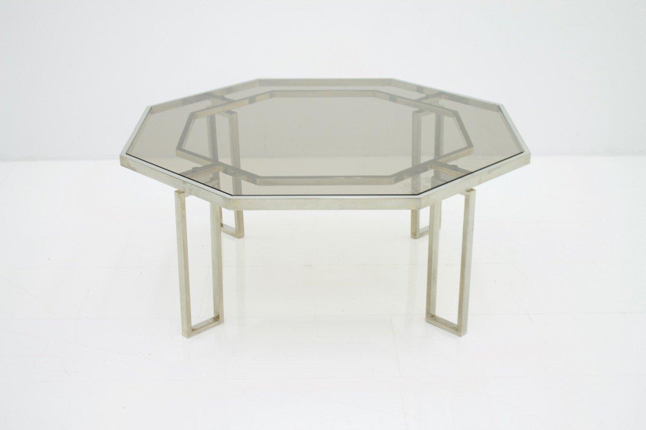 Oktogonaler Couchtisch mit Metallgestell Metall und Glasplatte, 1960er