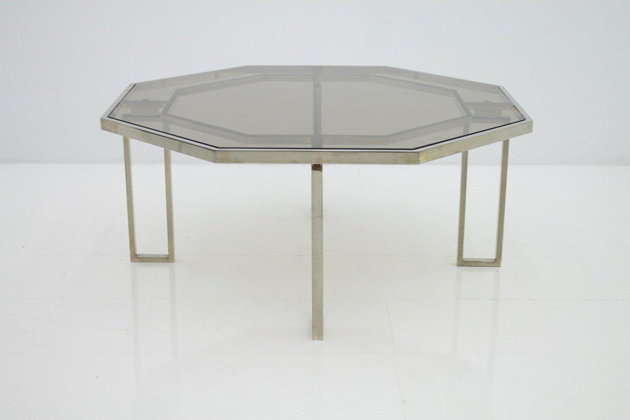 oktogonaler couchtisch mit metallgestell metall und glasplatte 1960er bei pamono kaufen. Black Bedroom Furniture Sets. Home Design Ideas