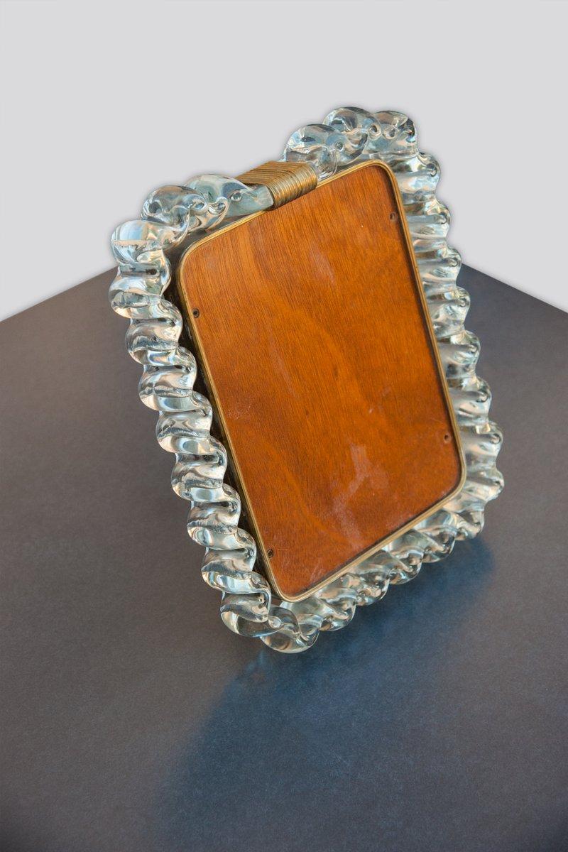 Bilderrahmen aus geriffeltem Kristallglas & Messing von Carlo Scarpa ...