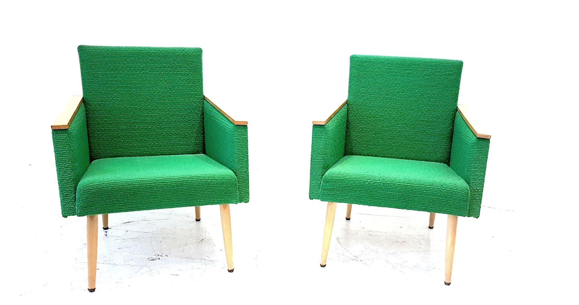 Clubsessel aus naturbelassener Buche mit grünem Stoff, 1960er, 2er Set
