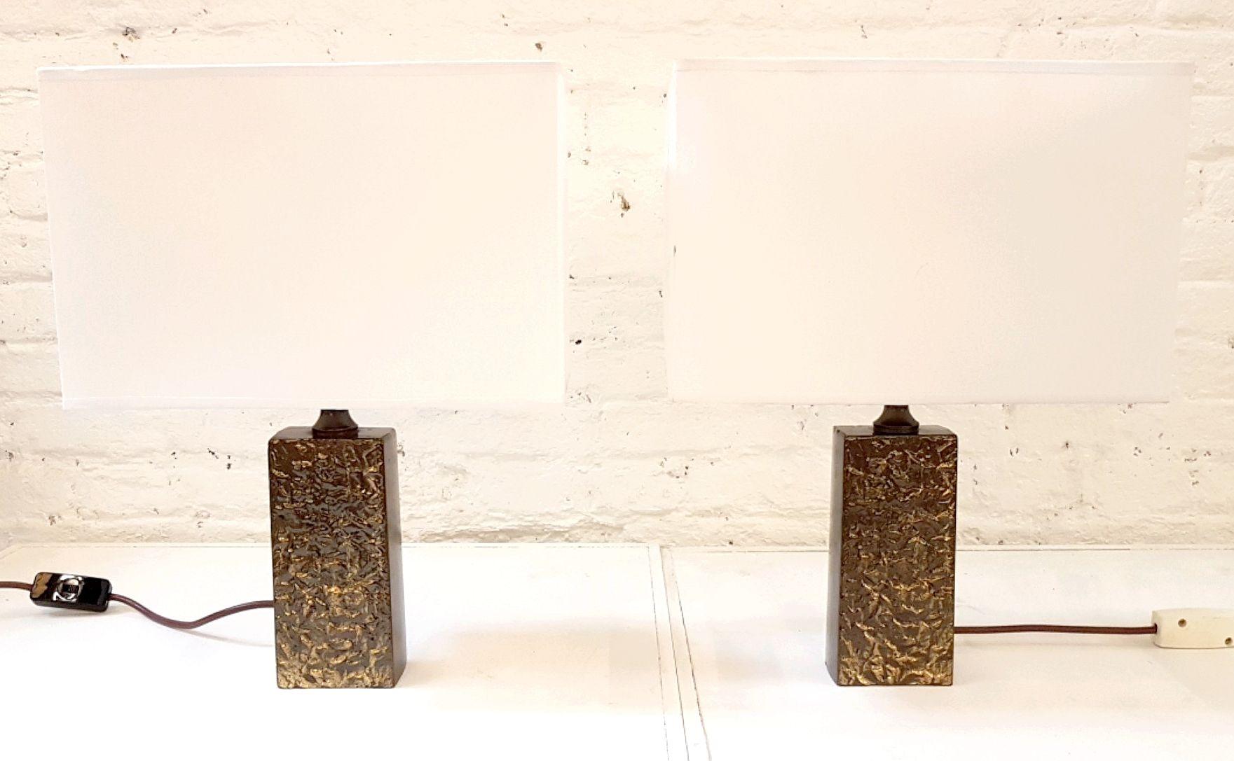 Brutalistische patinierte Bronze Tischlampen, 1980er, 2er Set