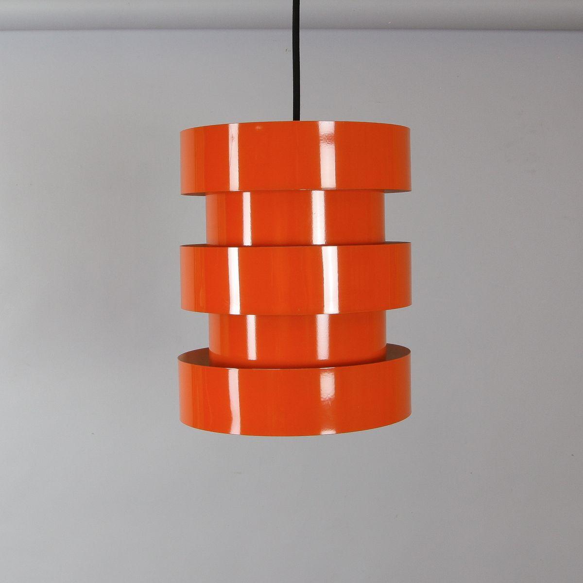 Orange Vintage Hängelampe von Johannes Hammerborg für Fog & Mørup