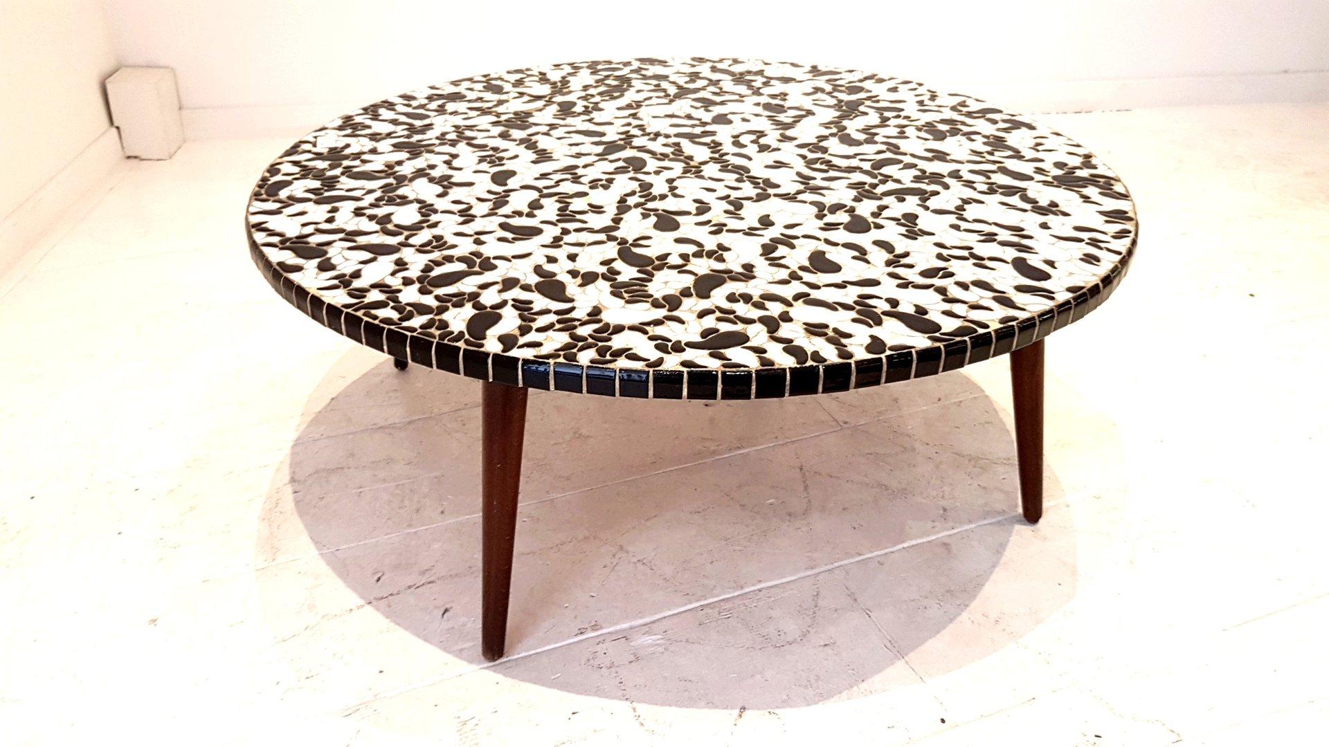 Runder Keramik Tisch in Schwarz & Weiß, 1950er