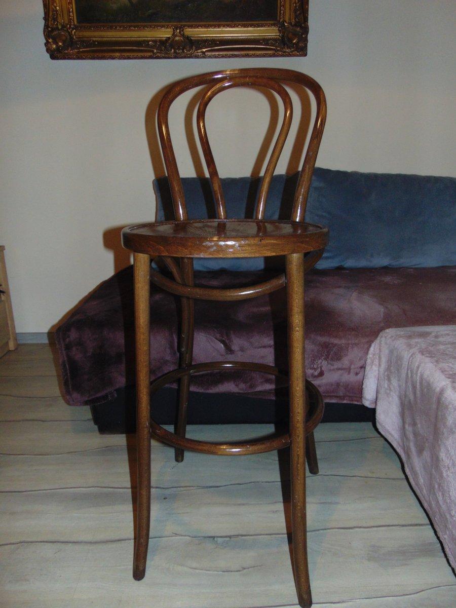 Chaise Haute Vintage En Bois Courbe
