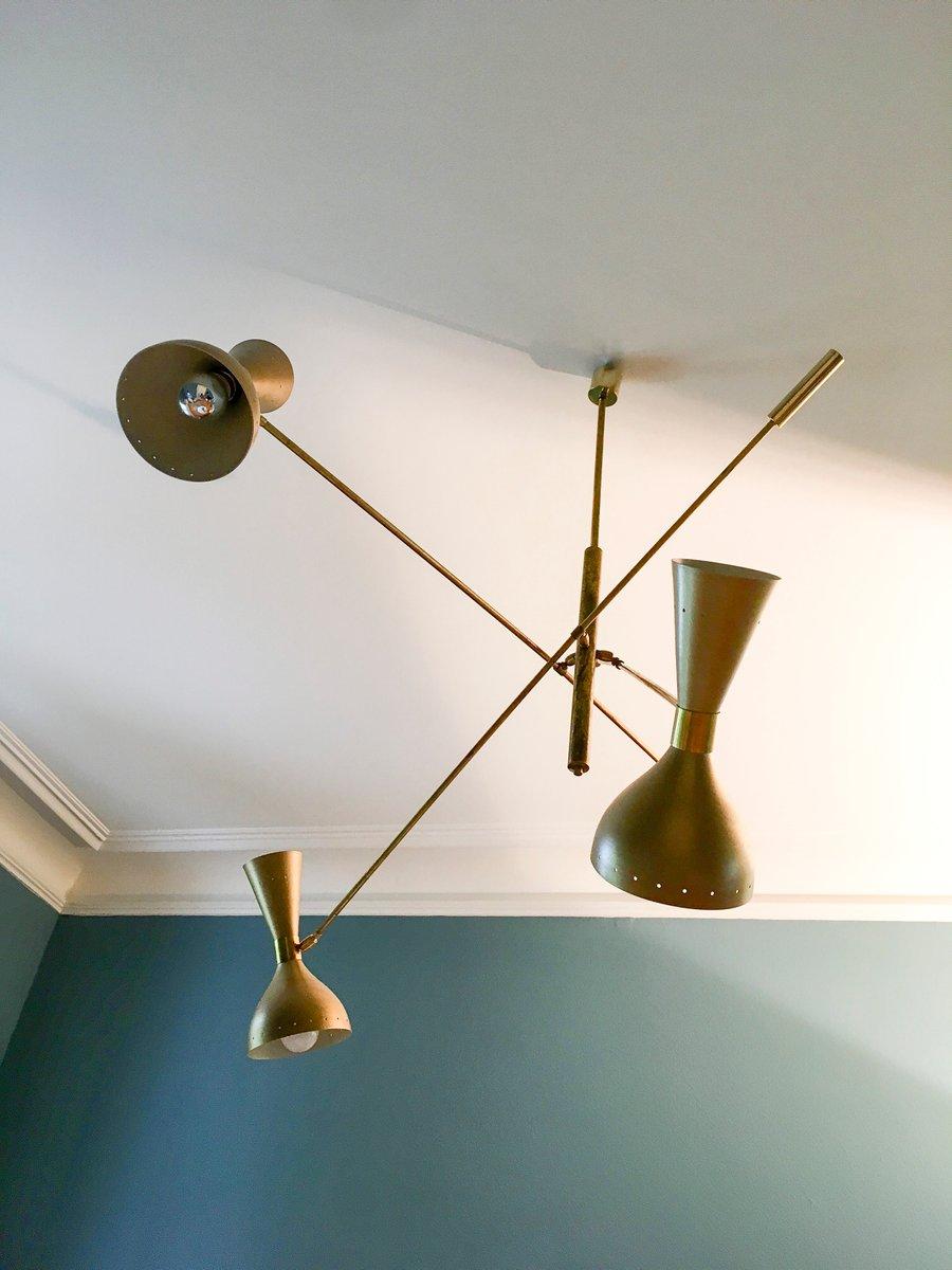 Italienische Mid-Century Messing Deckenlampe von Stilnovo, 1950er