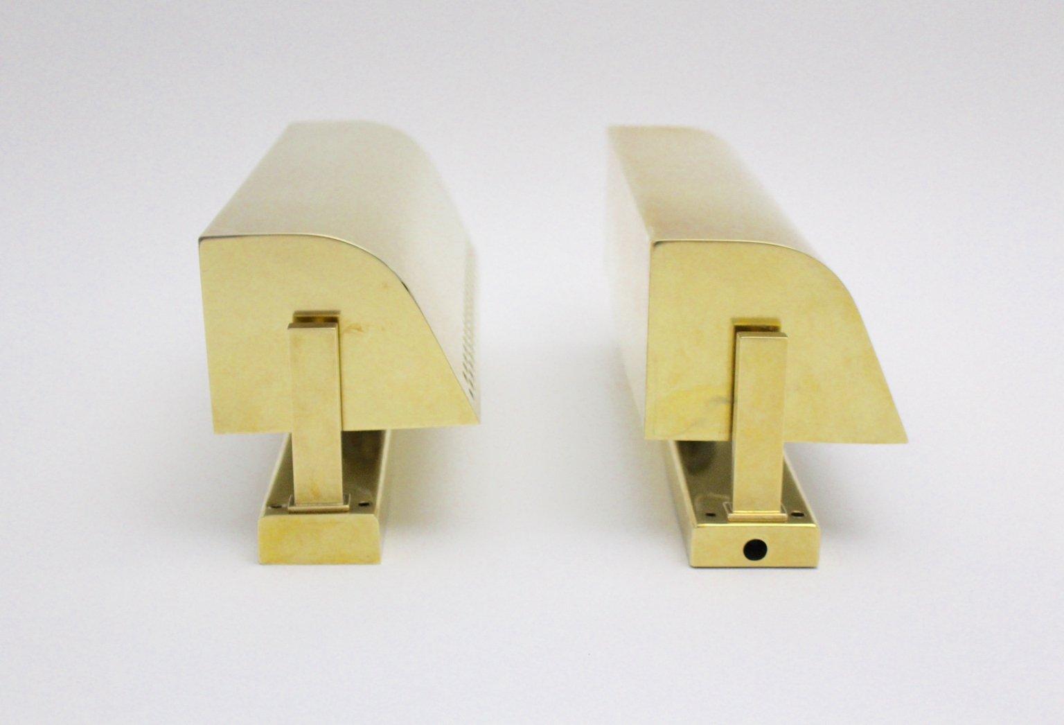 Italienische Mid-Century Modern Messing Wandlampen, 1950er, 2er Set