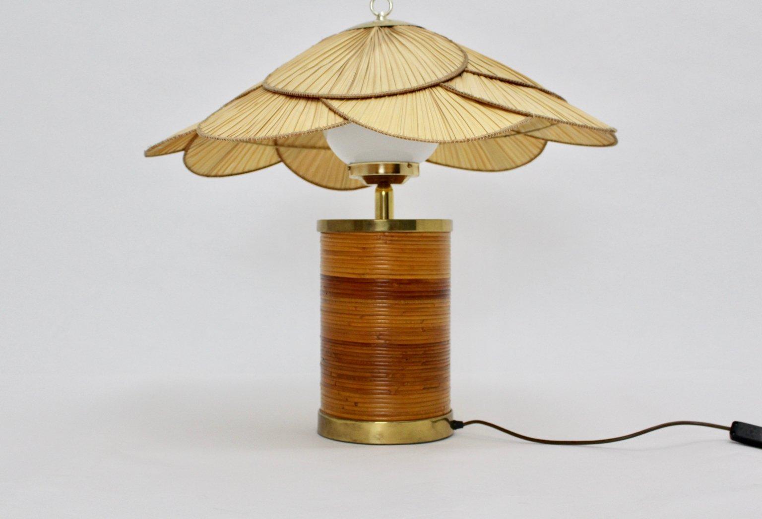Deutsche Rattan Tischlampe von Ingo Maurer, 1970er