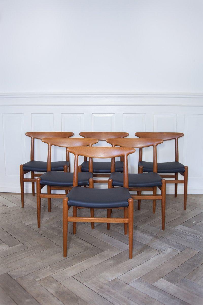 d nische mid century w2 st hle von hans j wegner f r madsens 1950er 6er set bei pamono kaufen. Black Bedroom Furniture Sets. Home Design Ideas
