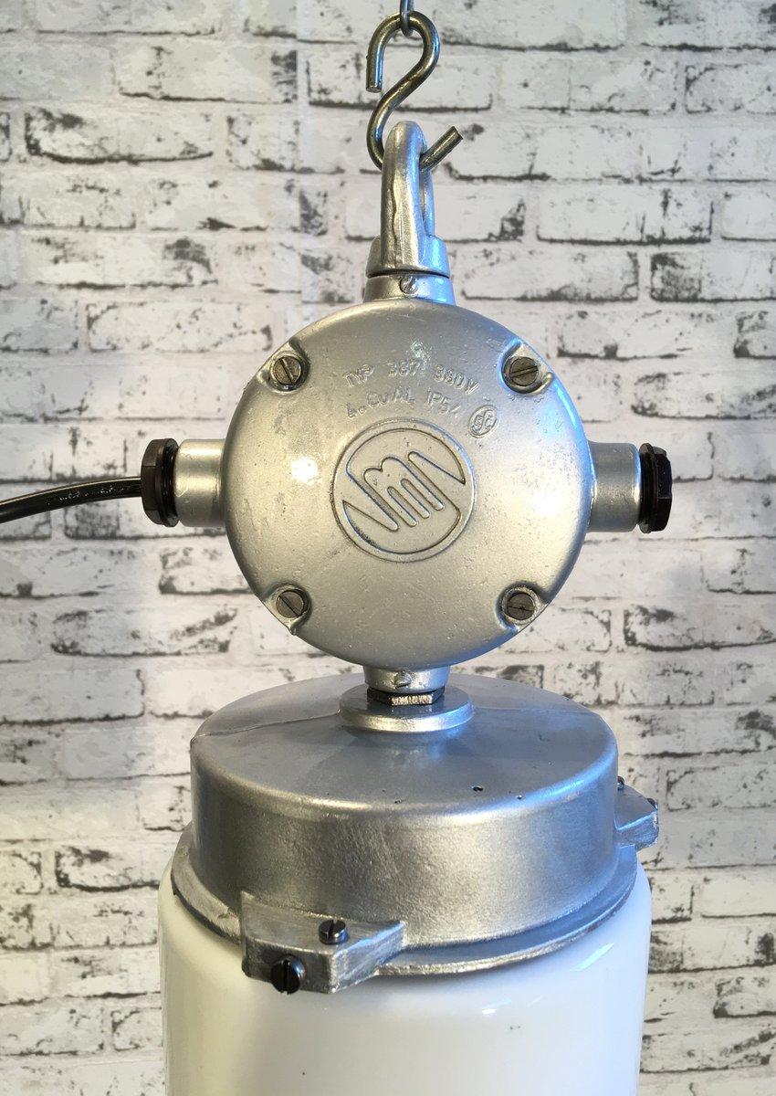 lampe industrielle vintage en aluminum verre d poli 1970s en vente sur pamono. Black Bedroom Furniture Sets. Home Design Ideas