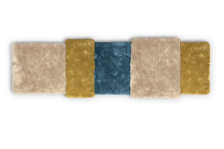 tapis stripe over bleu et jaune moutarde par why not pour. Black Bedroom Furniture Sets. Home Design Ideas