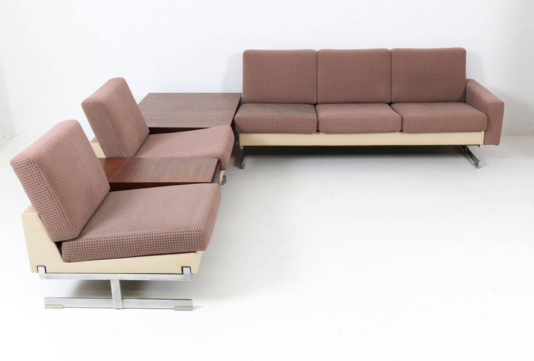 mid century model pluraform modern sofas with wenge coffee tables by rolf benz 1964 for sale at. Black Bedroom Furniture Sets. Home Design Ideas