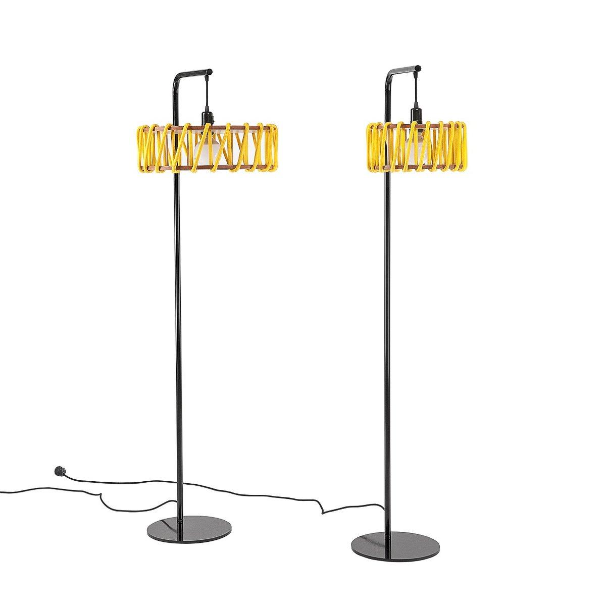 schwarze macaron stehlampe mit gro em gelben schirm von silvia ce al f r emko bei pamono kaufen. Black Bedroom Furniture Sets. Home Design Ideas