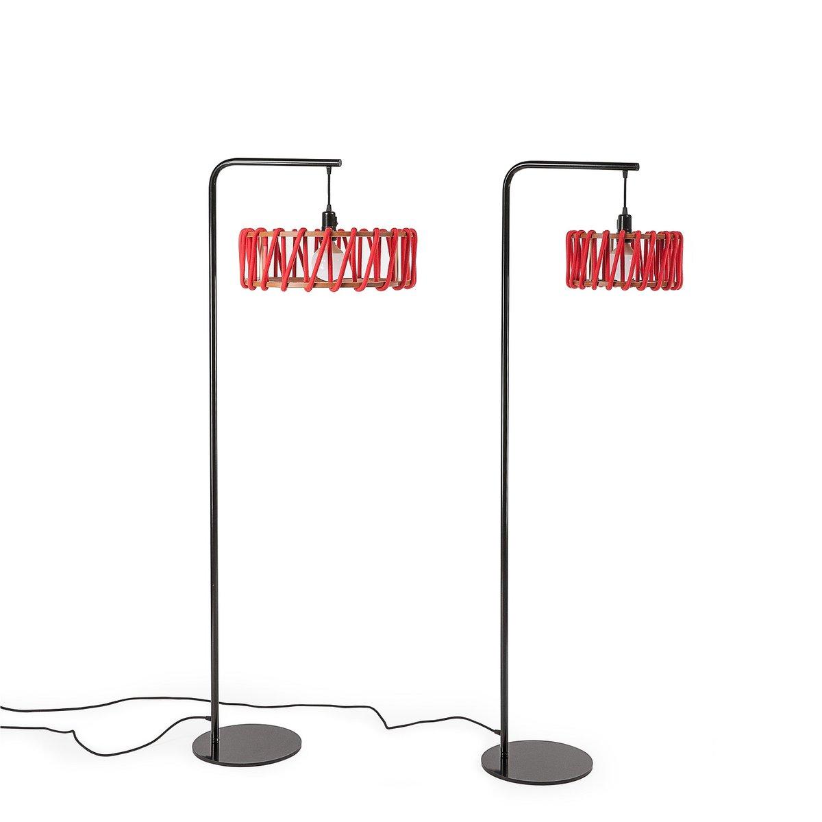 schwarze macaron stehlampe mit gro em roten schirm von silvia ce al f r emko bei pamono kaufen. Black Bedroom Furniture Sets. Home Design Ideas